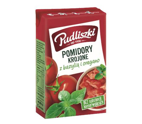 Pomidory krojone z bazylią i oregano 390 g